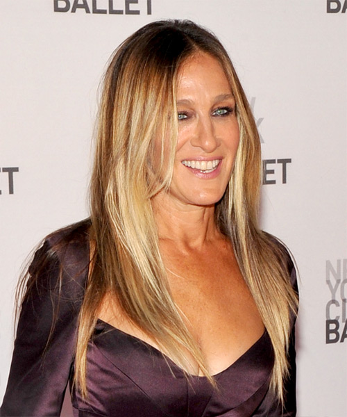 Sarah Jessica Parker Long Straight Formal    Hairstyle   -  Blonde and Light Blonde Two-Tone Hair Color - Side on View