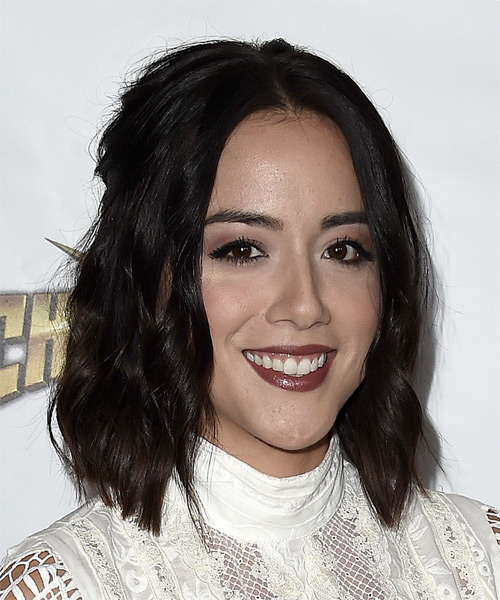 Chloe Bennet Medium Wavy Casual  Bob  Hairstyle   - Dark Brunette Hair Color - Side on View