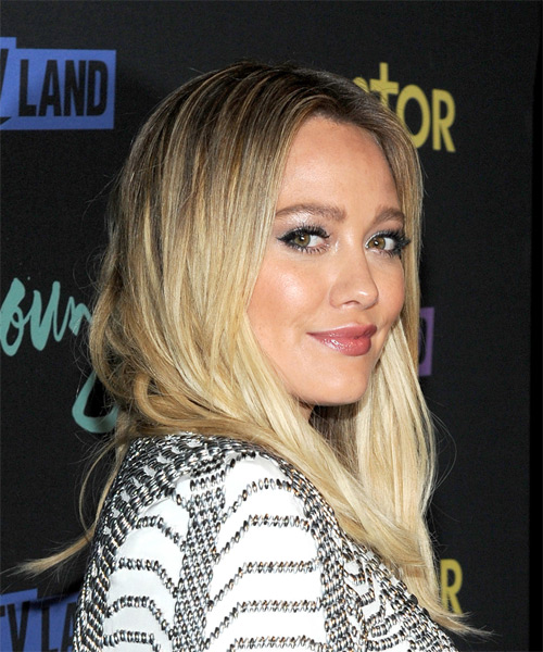 Hilary Duff Medium Straight   Light Golden Blonde   Hairstyle   - Side on View