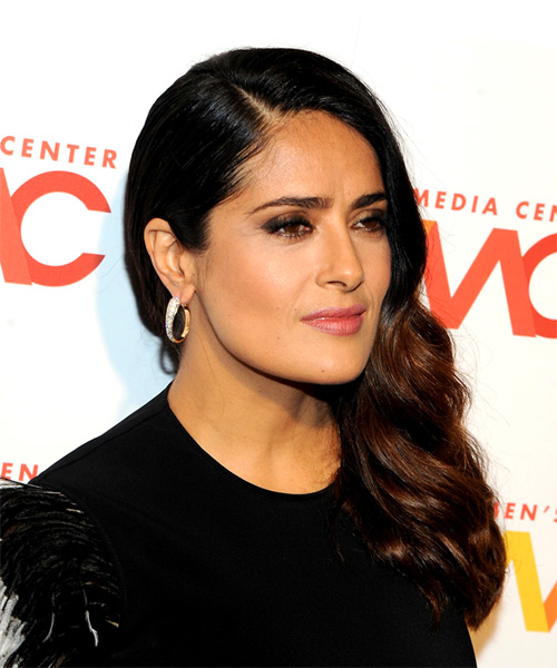 Salma Hayek Long Wavy Casual   Hairstyle   - Dark Brunette - Side on View