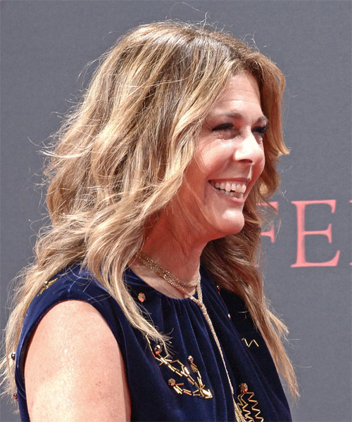 Rita Wilson Long Wavy Casual   Hairstyle   - Dark Blonde - Side on View