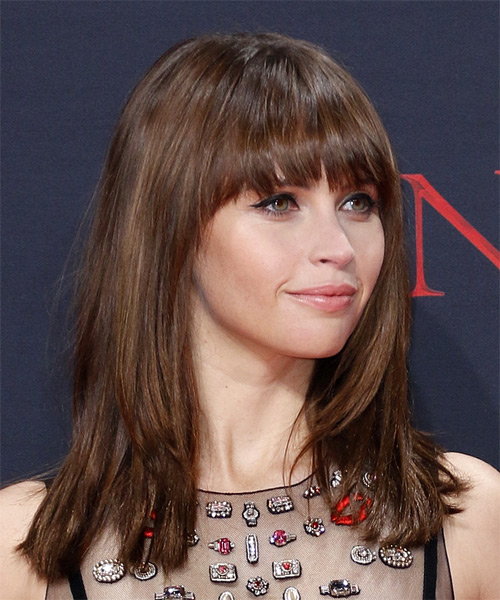 Felicity Jones Long Straight Formal   Hairstyle with Blunt Cut Bangs  - Medium Brunette - Side on View
