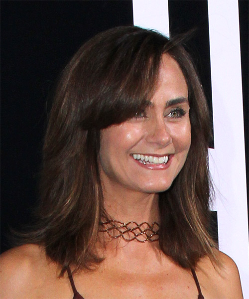 Diane Farr Medium Straight Casual Bob  Hairstyle with Side Swept Bangs  - Medium Brunette (Chestnut) - Side on View