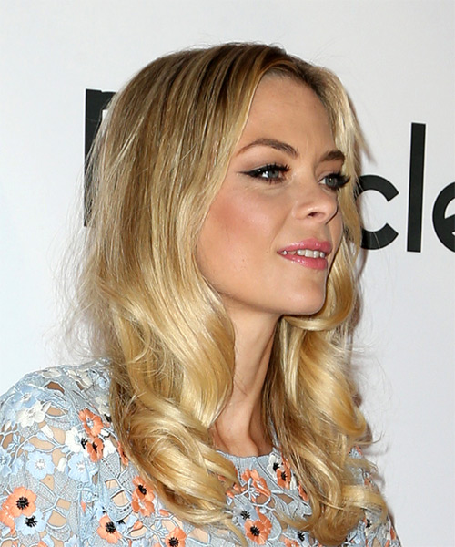 Jaime King Long Wavy Casual   Hairstyle   - Medium Blonde - Side on View