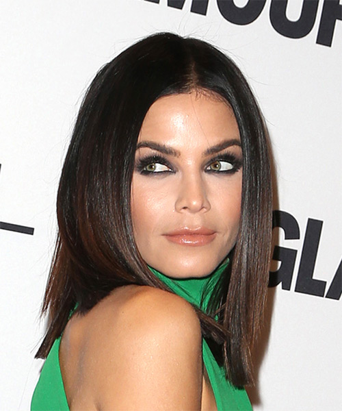 Jenna Dewan Medium Straight Formal Bob  Hairstyle   - Dark Brunette - Side on View