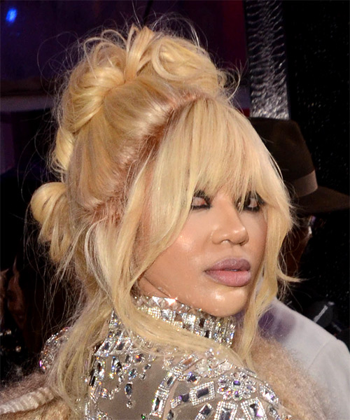 Dencia Long Curly Casual  Updo Hairstyle with Layered Bangs  - Light Blonde (Honey) - Side on View