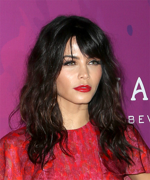 Jenna Dewan Long Wavy Casual   Hairstyle with Layered Bangs  - Black - Side on View