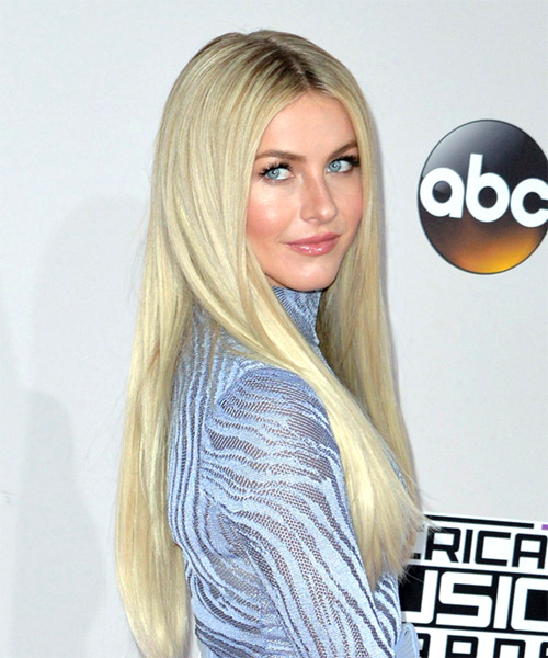 Julianne Hough Long Straight   Light Platinum Blonde   Hairstyle   - Side on View