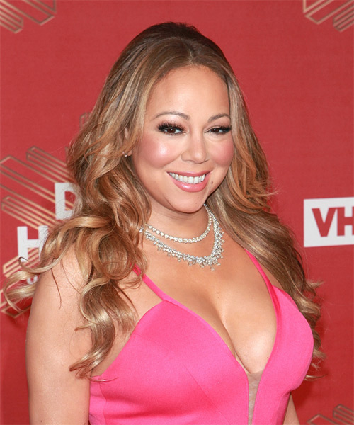 Mariah Carey Long Curly Casual   Hairstyle   - Light Brunette - Side on View