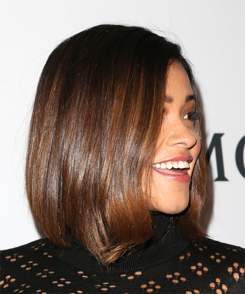 Gina Rodriguez Medium Straight Casual  Bob  Hairstyle   - Medium Brunette Hair Color - Side on View