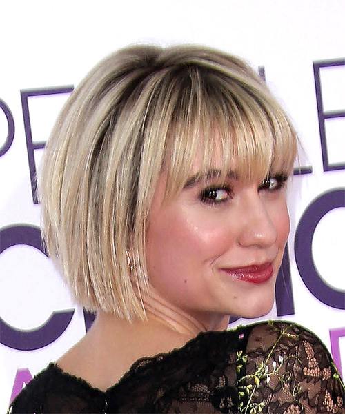 Chelsea Kane Classic Pageboy Short Straight Formal Bob  Hairstyle with Razor Cut Bangs  - Light Blonde - Side on View