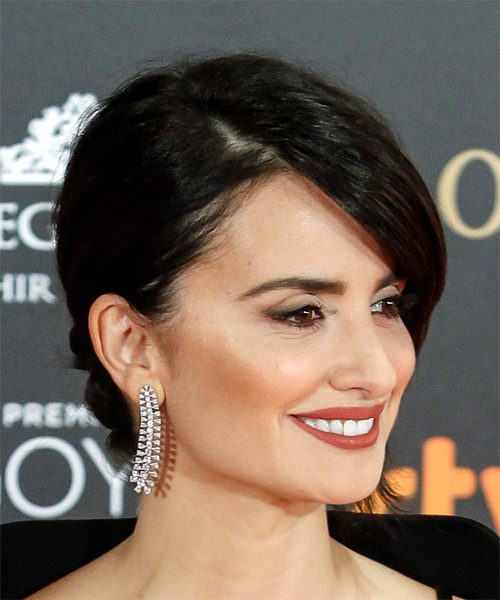 Penelope Cruz Medium Straight Formal Wedding  Hairstyle   - Dark Brunette - Side on View