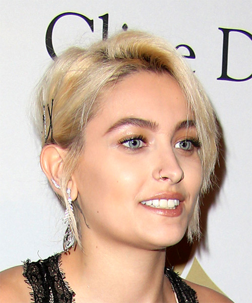 Paris Jackson Short Straight Casual  Shag  Hairstyle with Side Swept Bangs  - Light Blonde Hair Color - Side on View