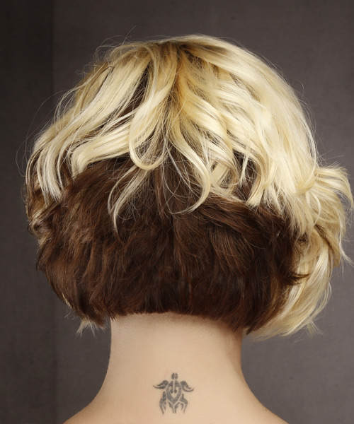 Short Wavy Formal  Bob  Hairstyle with Asymmetrical Bangs  - Light Blonde and  Brunette Two-Tone Hair Color - Side on View