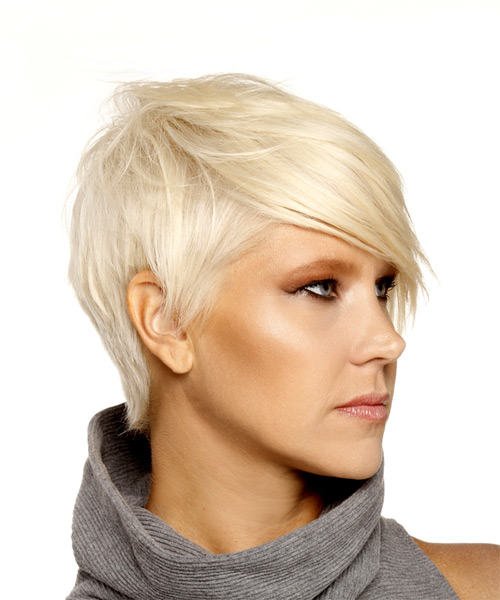 Short Straight Formal Pixie  Hairstyle with Side Swept Bangs  - Light Blonde (Platinum) - Side on View