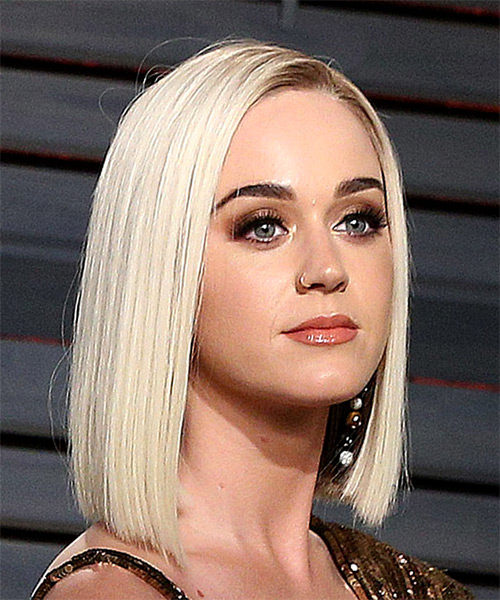 Katy Perry Medium Straight Light Platinum Blonde Bob Haircut