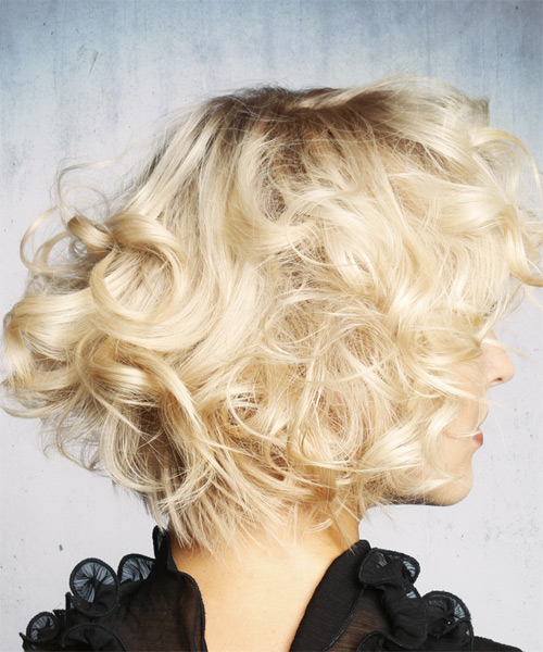 Short Curly Formal  Shag  Hairstyle with Layered Bangs  - Light Platinum Blonde Hair Color - Side on View