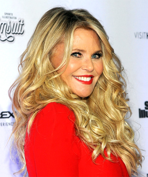 Christie Brinkley Long Curly Casual   Hairstyle with Side Swept Bangs  - Light Blonde - Side on View