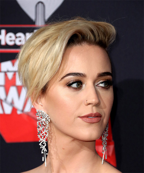 Katy Perry Short Straight Alternative Asymmetrical  Hairstyle   - Light Blonde - Side on View