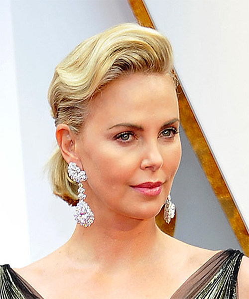 Charlize Theron Medium Wavy Formal   Updo Hairstyle   - Light Golden Blonde Hair Color - Side on View