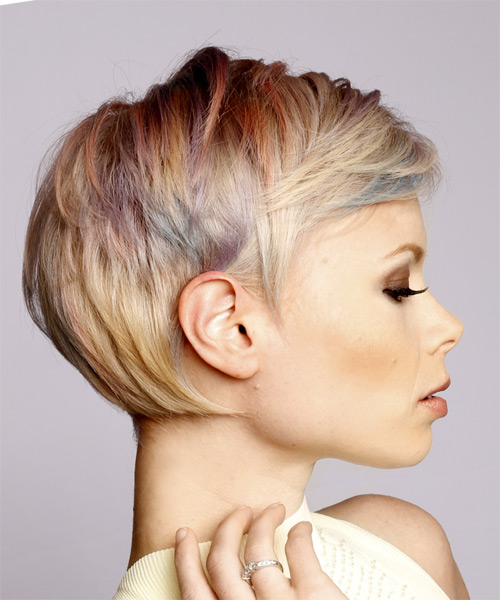 Short Straight Formal  Pixie  Hairstyle with Side Swept Bangs  - Light Blonde and Blue Two-Tone Hair Color with Pink Highlights - Side on View