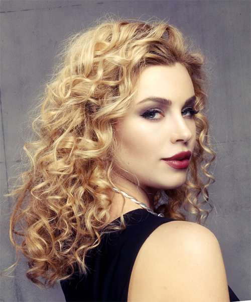 Medium Curly Formal    Hairstyle   -  Golden Blonde Hair Color - Side on View