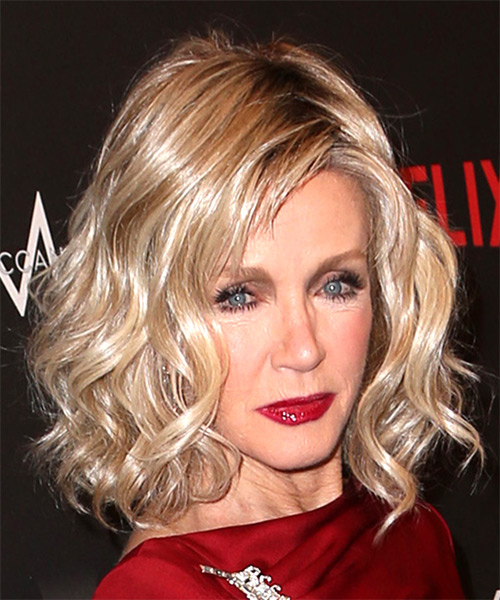 Donna Mills Medium Wavy Casual Bob  Hairstyle with Side Swept Bangs  - Light Blonde - Side on View