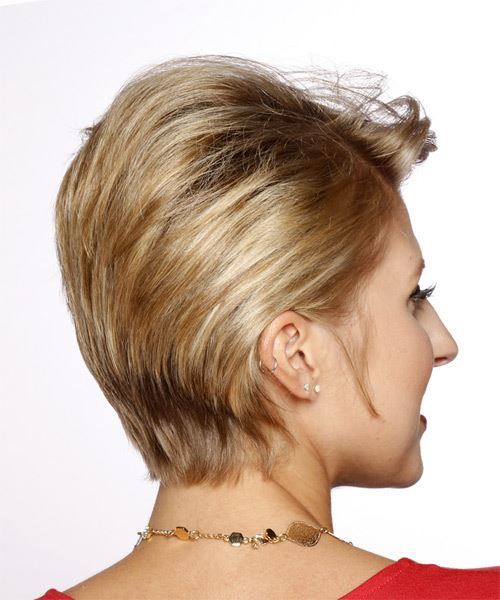 Short Straight Casual   Hairstyle   - Dark Blonde - Side on View