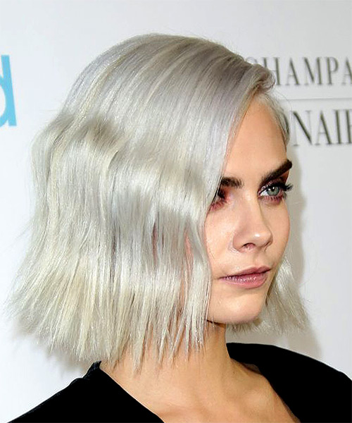 Cara Delevingne Medium Wavy Casual  Bob  Hairstyle   - Light Platinum Blonde Hair Color - Side on View