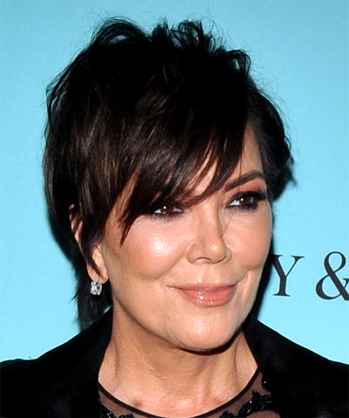 Kris Jenner Short Straight Casual Shag  Hairstyle with Layered Bangs  - Black - Side on View