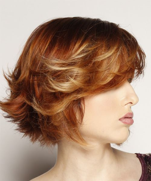 Short Straight    Red   Hairstyle with Side Swept Bangs  and Light Blonde Highlights - Side on View
