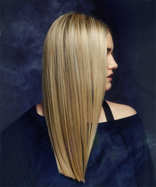 Long Straight Formal    Hairstyle   - Light Blonde Hair Color - Side on View