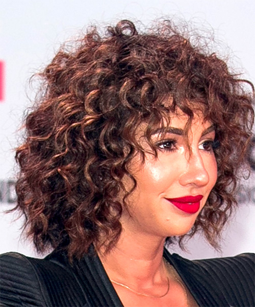 Jackie Cruz Short Curly Casual Shag  Hairstyle with Layered Bangs  - Dark Brunette - Side on View