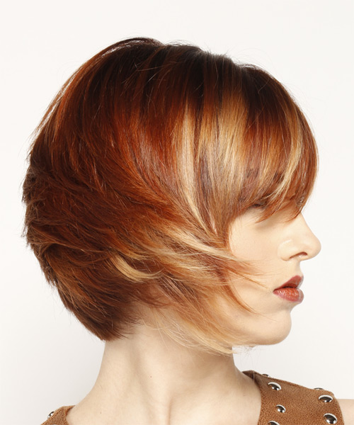 Short Straight Formal Bob  Hairstyle with Side Swept Bangs  - Dark Red - Side on View