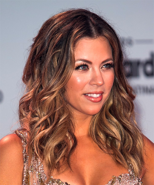 Ximena Duque Long Wavy Casual   Hairstyle   - Medium Brunette - Side on View