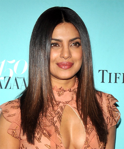 Priyanka Chopra Long Straight   Black    Hairstyle   with Dark Brunette Highlights - Side on View