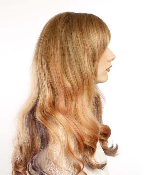 Long Wavy    Blonde and Pink Two-Tone   Hairstyle with Side Swept Bangs  - Side on View