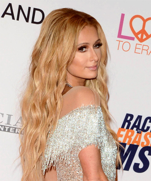 Paris Hilton Long Wavy Casual   Hairstyle   - Medium Blonde (Golden) - Side on View