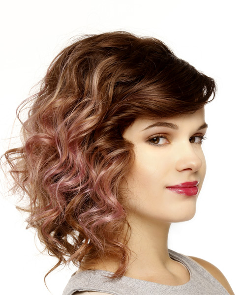 Medium Wavy Casual  Asymmetrical Updo Hairstyle with Side Swept Bangs  -  Brunette Hair Color - Side on View
