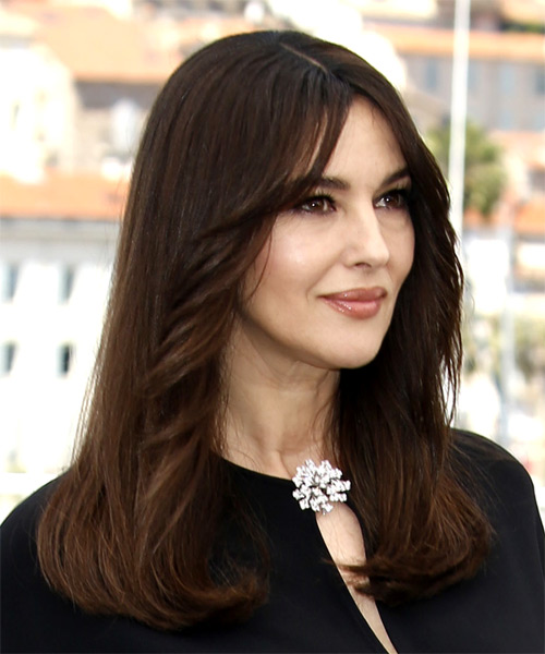 Monica Bellucci Long Straight Casual   Hairstyle   - Dark Brunette - Side on View