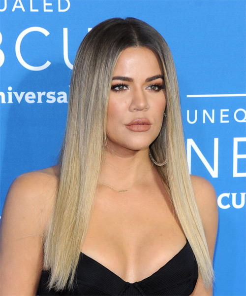 Khloe Kardashian Long Straight Formal    Hairstyle   - Light Blonde Hair Color - Side on View