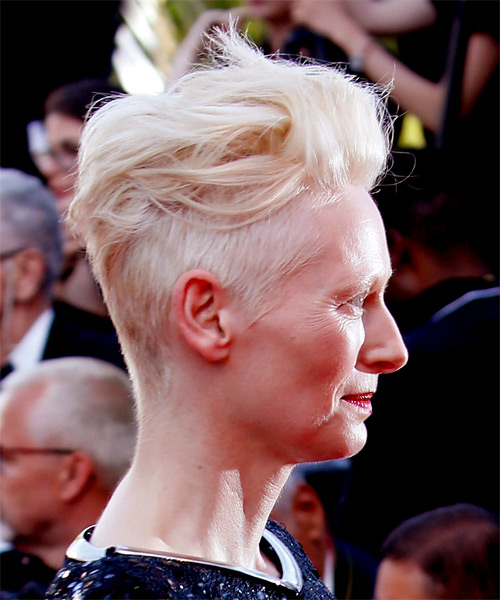 Tilda Swinton Short Wavy   Light Blonde Mohawk  Hairstyle   - Side on View
