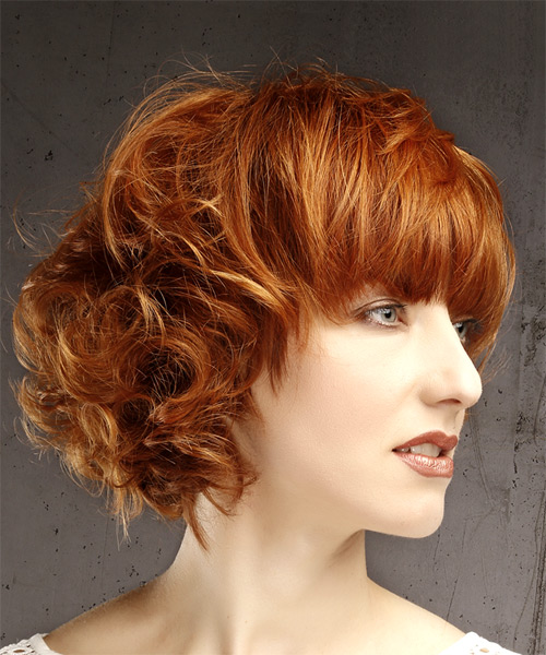 Short Wavy Casual Bob  Hairstyle with Blunt Cut Bangs  - Medium Red - Side on View