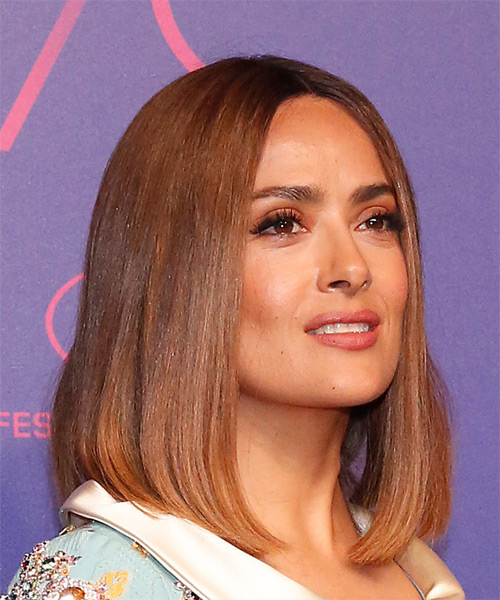 Salma Hayek Medium Straight    Brunette Bob  Haircut   - Side on View
