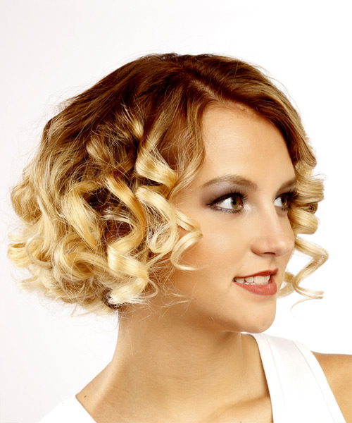 Short Curly Formal Bob  Hairstyle   - Light Blonde - Side on View