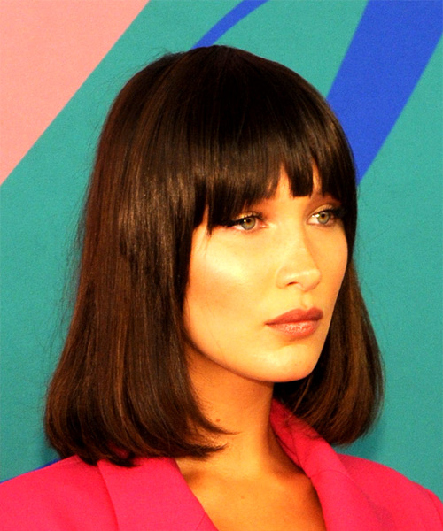 Bella Hadid Medium Straight Formal Bob  Hairstyle with Blunt Cut Bangs  - Dark Brunette - Side on View
