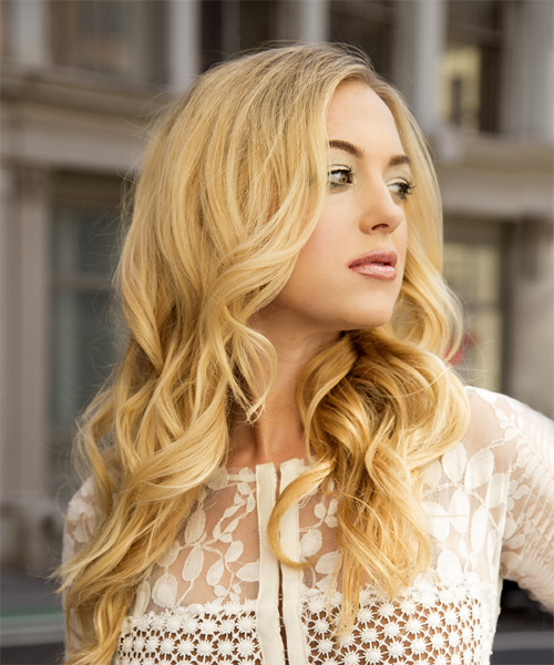 Long Wavy Formal    Hairstyle   - Light Blonde Hair Color - Side on View