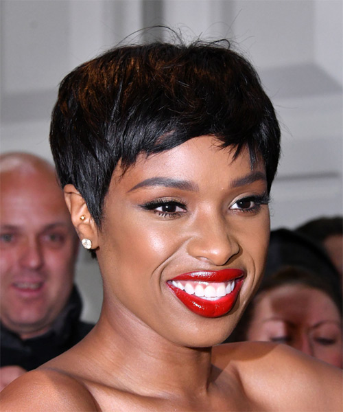 Jennifer Hudson     Black  Pixie  Cut with Side Swept Bangs  - Side on View