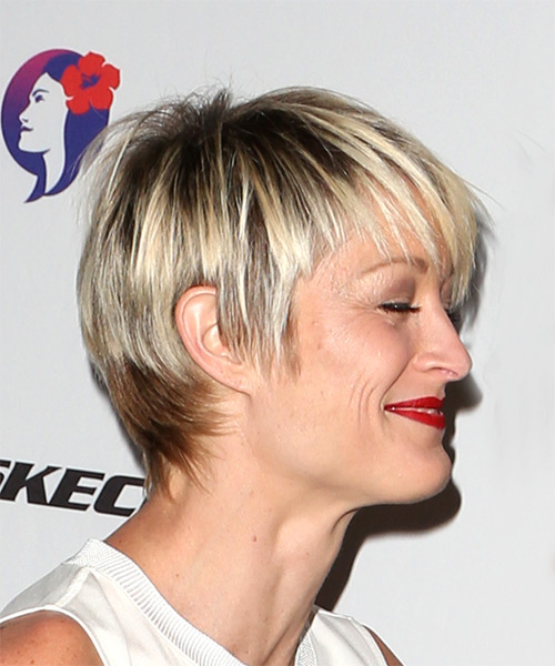 Terri Polo Short Straight Casual Pixie  Hairstyle with Side Swept Bangs  - Light Blonde - Side on View