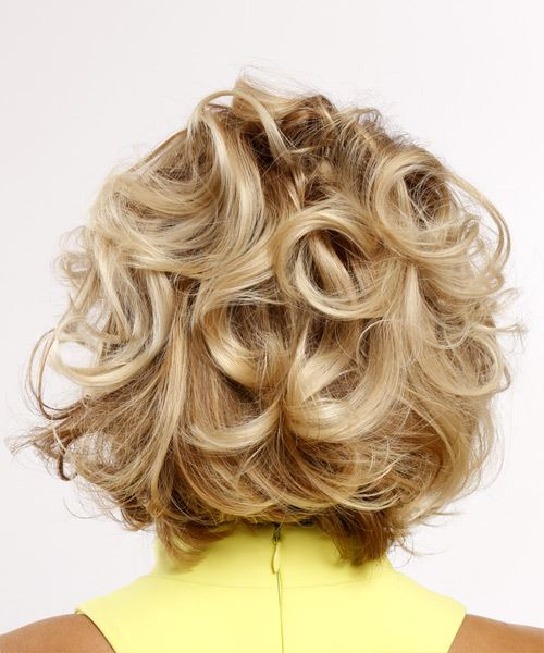 Short Curly Casual   Hairstyle with Side Swept Bangs  - Light Blonde - Side on View